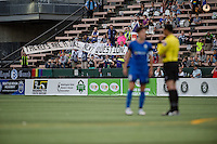 Seattle, Washington - Saturday, July 2nd, 2016: Seattle Reign FC fans react to a call during a regular season National Women's Soccer League (NWSL) match between the Seattle Reign FC and the Boston Breakers at Memorial Stadium. Seattle won 2-0.