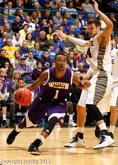 SIOUX FALLS, SD - MARCH 9:  Jabari Sandifer #1 from Western Illinois drives against Cody Larson #34 from South Dakota State University in the second half of their quarterfinal game at the 2014 Summit League Tournament Sunday evening in Sioux Falls, SD. (Photo by Dave Eggen/Inertia)