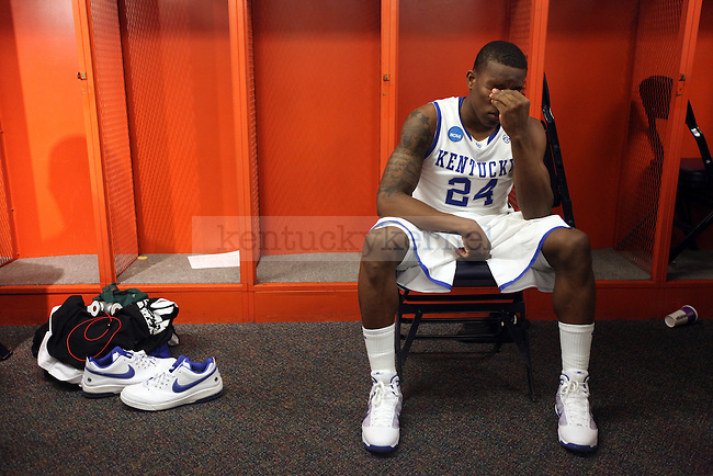 Eric Bledsoe sits in the locker room after their Elite 8 loss , 73-66, against West Virginia at the Carrier Dome in Syracuse, NY on  Saturday, March 27, 2010. Photo by Britney McIntosh | Staff
