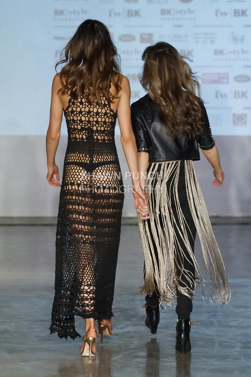 Fashion designer Barbara Price walks runway with model during the close of her Coketta Beachwear  fashion show on April 12, 2019; during Fashion Week Brooklyn Fall Winter 2019.