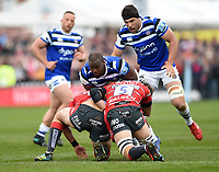 Beno Obano of Bath Rugby takes on the Gloucester Rugby defence. Gallagher Premiership match, between Gloucester Rugby and Bath Rugby on April 13, 2019 at Kingsholm Stadium in Gloucester, England. Photo by: Patrick Khachfe / Onside Images