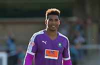 Goal Scorer Reuben Reid of Plymouth Argyle after his team claims the 3 points during the Sky Bet League 2 match between Wycombe Wanderers and Plymouth Argyle at Adams Park, High Wycombe, England on 12 September 2015. Photo by Andy Rowland.