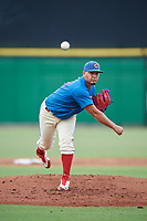 Clearwater Threshers starting pitcher Alejandro Requena (44) delivers a pitch during a game against the St. Lucie Mets on August 11, 2018 at Spectrum Field in Clearwater, Florida.  St. Lucie defeated Clearwater 11-0.  (Mike Janes/Four Seam Images)