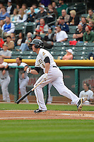 Grant Green (6) of the Salt Lake Bees at bat against the Memphis Redbirds at Smith's Ballpark on June 18, 2014 in Salt Lake City, Utah.  (Stephen Smith/Four Seam Images)