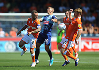 Blackpool's Jay Spearing and Chris Taylor vie for possession with Wycombe Wanderers' Matt Bloomfield<br /> <br /> Photographer Kevin Barnes/CameraSport<br /> <br /> The EFL Sky Bet League One - Wycombe Wanderers v Blackpool - Saturday 4th August 2018 - Adams Park - Wycombe<br /> <br /> World Copyright &copy; 2018 CameraSport. All rights reserved. 43 Linden Ave. Countesthorpe. Leicester. England. LE8 5PG - Tel: +44 (0) 116 277 4147 - admin@camerasport.com - www.camerasport.com