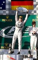 MELBOURNE, AUSTRALIA, 16.03.2014 - F1 - GP DA AUSTRALIA - O piloto alemão Nico Rosberg, da Mercedes, comemora a vitória ao término da prova do Grande Prêmio de Fórmula 1 da Austrália, realizada no Circuito de Albert Park, em Melbourne, neste domingo (16). (Foto: Pixathlon / Brazil Photo Press).