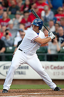 Round Rock Express designated hitter Brad Nelson #30 at bat during the MLB exhibition baseball game against the Texas Rangers on April 2, 2012 at the Dell Diamond in Round Rock, Texas. The Rangers out-slugged the Express 10-8. (Andrew Woolley / Four Seam Images).