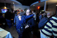NWA Media/ J.T. Wampler - Fayetteville aldermen Sarah Marsh, left, and Mark Kinion at the watch party Tuesday Dec. 09, 2014.
