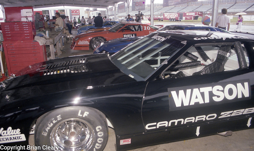 IROC cars in garage Winston 500 at Alabama International Motor Speedway in Talladega , AL on May 5, 1985. (Photo by Brian Cleary/www.bcpix.com)