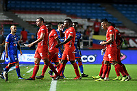 CALI-COLOMBIA, 01-06-2019: Jugadores de América de Cali al final del primer tiempo durante partido entre América de Cali y Deportivo Pasto, de la fecha 5 de los cuadrangulares semifinales por la Liga Águila I 2019 jugado en el estadio Pascual Guerrero de la ciudad de Cali. / Players of America de Cali at the end of the first time  during a match between America de Cali and Deportivo Pasto, of the 5th date of the semifinals quarters for the Aguila Leguaje I 2019 at the Pascual Guerrero stadium in Cali city. Photo: VizzorImage / Nelson Ríos / Cont.