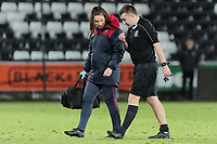 Pictured: Match referee injured. Tuesday 01 May 2018<br /> Re: Swansea U19 v Cardiff U19 FAW Youth Cup Final at the Liberty Stadium, Swansea, Wales, UK