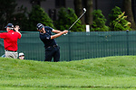 CROMWELL, CT. 20 June 2019-062019 - PGA Tour player Patrick Cantlay hits his second shot from the wet rough on the seventh hole, during the first round of the Travelers Championship at TPC River Highlands in Cromwell on Thursday. Bill Shettle Republican-American