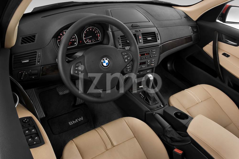High angle dashboard view of a 2008 BMW X3