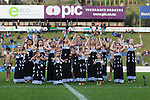 Onewhero Kapa haka group perform before the The game of Three Halves, a pre-season warm-up game between the Counties Manukau Steelers, Northland and the All Blacks, played at ECOLight Stadium, Pukekohe, on Friday August 12th 2016. Photo by Richard Spranger.
