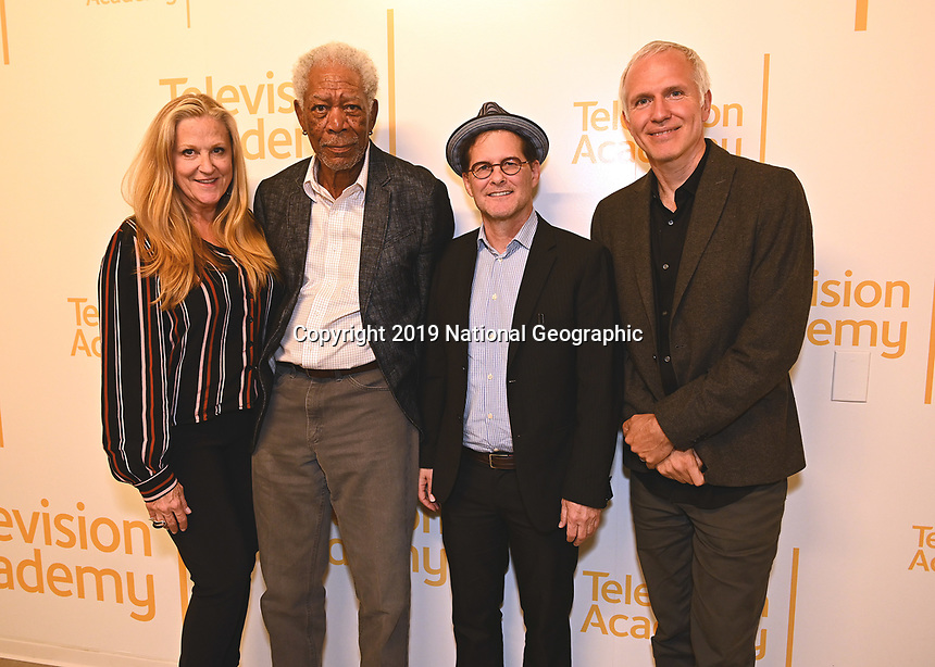 "LOS ANGELES - JUNE 5:  Lori McCreary, Morgan Freeman, Matthew Carey and James Younger attend an FYC event for National Geographic's ""The Story of God"" at the TV Academy on June 5, 2019 in Los Angeles, California. (Photo by Scott Kirkland/National Geographic/PictureGroup)"