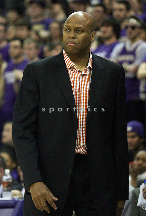 Oregon State Beavers Craig Robinson (HC) during a game against Washington on February 16, 2013 at Alaska Airlines Arena in Seattle Washington. Washington beat Oregon State 72-62.