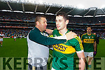 Paul Geaney, Kerry players after defeating Tyrone in the All Ireland Semi Final at Croke Park on Sunday.
