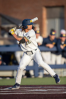 Michigan Wolverines outfielder Jordan Brewer (22) at bat against the Rutgers Scarlet Knights on April 26, 2019 in the NCAA baseball game at Ray Fisher Stadium in Ann Arbor, Michigan. Michigan defeated Rutgers 8-3. (Andrew Woolley/Four Seam Images)