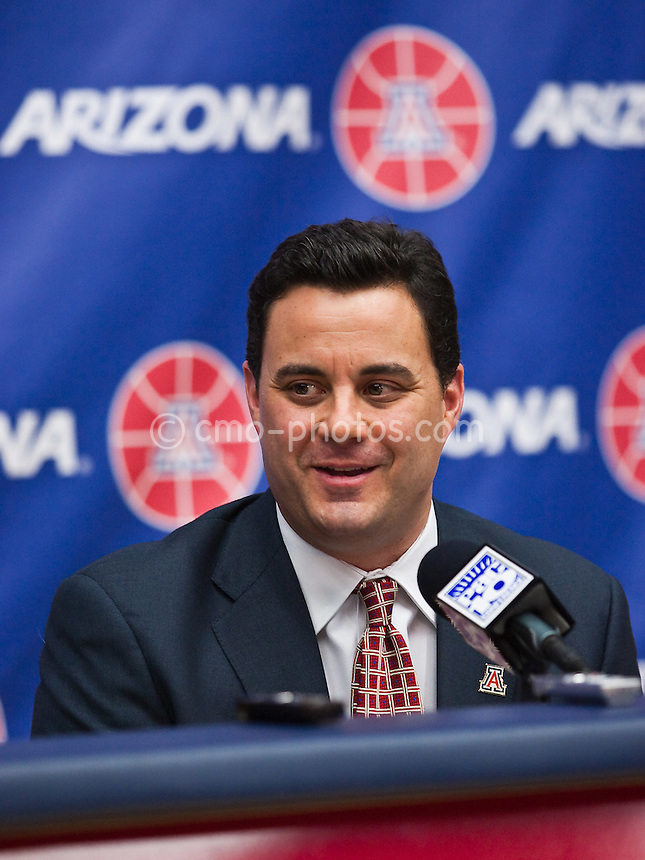 Apr 7, 2009; Tucson, AZ, USA; New Arizona Wildcats head coach Sean Miller speaks to the media during an introductory press conference at the McKale Center.