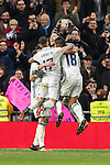 Sergio Ramos of Real Madrid celebrates with teammates during the La Liga match between Real Madrid and RC Deportivo La Coruna at the Santiago Bernabeu Stadium on 10 December 2016 in Madrid, Spain. Photo by Diego Gonzalez Souto / Power Sport Images