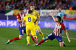 Atletico de Madrid´s Carrasco and Niguez and Astana´s Zhukov during Champions League soccer match between Atletico de Madrid and FC Astana at Vicente Calderon stadium in Madrid, Spain. October 21, 2015. (ALTERPHOTOS/Victor Blanco)