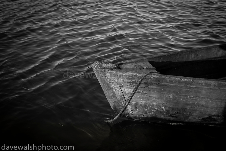 Slaney cot, or boat, on the River Slaney, Wexford, Ireland.