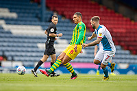 11th July 2020; Ewood Park, Blackburn, Lancashire, England; English Football League Championship Football, Blackburn Rovers versus West Bromwich Albion; Jake Livermore of West Bromwich Albion plays the ball back under pressure from Adam Armstrong of Blackburn Rovers