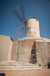 Windmill in old round stone tower, Llubi, Mallorca
