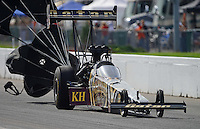 Sept. 30, 2012; Madison, IL, USA: NHRA top fuel dragster driver Khalid Albalooshi during the Midwest Nationals at Gateway Motorsports Park. Mandatory Credit: Mark J. Rebilas-
