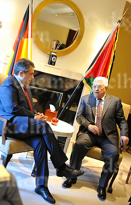 March 23-17,Adlon Hotel,Berlin,Germany<br /> L-r: German Foreign Minister Sigmar Gabriel is to meet Palestinian President Mahmoud Abbas at Adlon Hotel for talks about peace process with Israel and situation of the middle east.