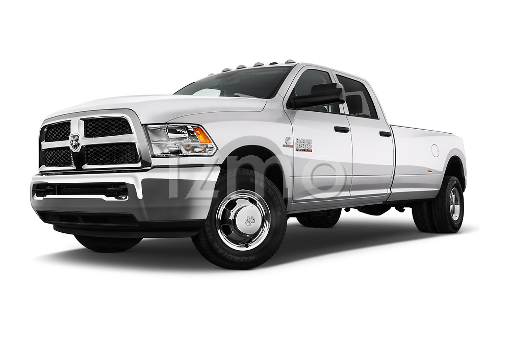 Stock pictures of low aggressive front three quarter view of 2018 Ram Ram 3500 Tradesman Crew Cab Long 4 Door Pick Up