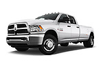 Stock pictures of low aggressive front three quarter view of 2017 Ram Ram 3500 Tradesman Crew Cab Long 4 Door Pick Up