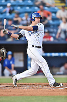 Asheville Tourists right fielder Sam Hilliard (25) swings at a pitch during a game against the Greenville Drive at McCormick Field on May 24, 2016 in Asheville, North Carolina. The Tourists defeated the Drive 17-7. (Tony Farlow/Four Seam Images)