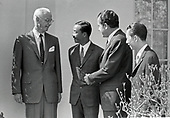 "United States President Richard M. Nixon meets Vice President Nguyen Cao Ky, of the Federal Republic of Vietnam (South Vietnam) at the White House in Washington, DC on April 1, 1969.  Ky was visiting the Nation's Capital for the State Funeral of former US President Dwight D. Eisenhower.  From left to right: Ellsworth Bunker, US Ambassador to the Federal Republic of Vietnam (South Vietnam); Vice President Ky; President Nixon; and Bui Diem, Ambassador of the Federal Republic of Vietnam (South Vietnam) to the US.<br /> Credit:Benjamin E. ""Gene"" Forte / CNP"