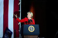 Philadelphia, PA - November 7, 2016: Democratic president candidate Hillary Clinton speaks to supporters during a campaign rally at Independence Hall in Philadelphia, PA, November 7, 2016, in a final push for votes.  (Photo by Don Baxter/Media Images International)