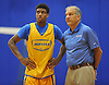 Hofstra University incoming freshman Justin Wright-Foreman, left, chats with head coach Joe Mihalich during an informal men's basketball team workout at the team's practice facility on Wednesday, July 22, 2015.<br /> <br /> James Escher