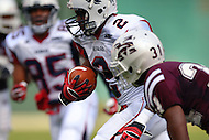 September 7, 2013  (Washington, DC)  Matthew Colvin (WR) #2, of the Howard Bison, runs the ball against the Morehouse Maroon Tigers in the 2013 AT&T Nations Classic.  (Photo by Don Baxter/Media Images International)