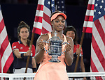Sloane Stephens (USA) defeated Madison Keys (USA) 6-3, 6-0, to become the US Open Champion