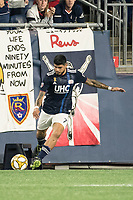 FOXBOROUGH, MA - SEPTEMBER 21: Gustavo Bao #7 of New England Revolution kicks a corner kick during a game between Real Salt Lake and New England Revolution at Gillette Stadium on September 21, 2019 in Foxborough, Massachusetts.