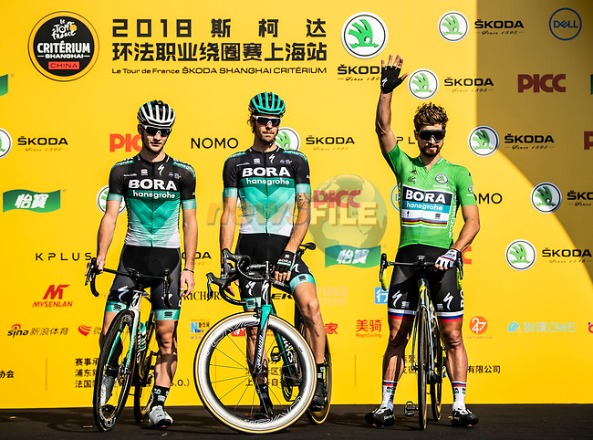 Green Jersey Peter Sagan (SVK) and Bora-Hansgrohe team mates at the team presentation before the start of the 2018 Shanghai Criterium, Shanghai, China. 17th November 2018.<br /> Picture: ASO/Alex Broadway | Cyclefile<br /> <br /> <br /> All photos usage must carry mandatory copyright credit (© Cyclefile | ASO/Alex Broadway)