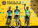 Green Jersey Peter Sagan (SVK) and Bora-Hansgrohe team mates at the team presentation before the start of the 2018 Shanghai Criterium, Shanghai, China. 17th November 2018.<br /> Picture: ASO/Alex Broadway | Cyclefile<br /> <br /> <br /> All photos usage must carry mandatory copyright credit (&copy; Cyclefile | ASO/Alex Broadway)