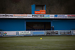 The groundsman opens up one of the stands before Cambrian and Clydach Vale take on Cwmbran Celtic at King George's New Field in a Welsh League Division One match, the top division of the Welsh Football League and the second level of the Welsh football league system. The club, formed in 1965 reached the final of the 2018-19 League Cup final and can count on ex-England manager Terry Venables as a former club chairman. Cambrian and Clydach Vale won this match 2-0, watch by a crowd of around 100 spectators.
