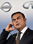 May 12, 2014, Yokohama, Japan - CEO Carlos Ghosn of Nissan Motor Co., listens to translated questions during a news conference at its head office in Yokohama, south of Tokyo, on Monday, May 12, 2014. Ghosn said its net profit rose 4.8% in the January-to-March quarter, thanks to the weak yen which offset sluggish sales in overseas markets. Ghosn forecast a net profit of \405 billion in the current business year with a global sales target of 5.65 million vehicles.  (Photo by Natsuki Sakai/AFLO)