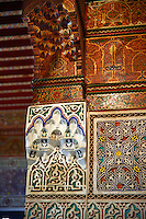 Berber Arabesque decorative honeycomb Muqarnas plaster capitals of Bou Ahmed's Harem. Bahia Palace, Marrakesh, Morroco
