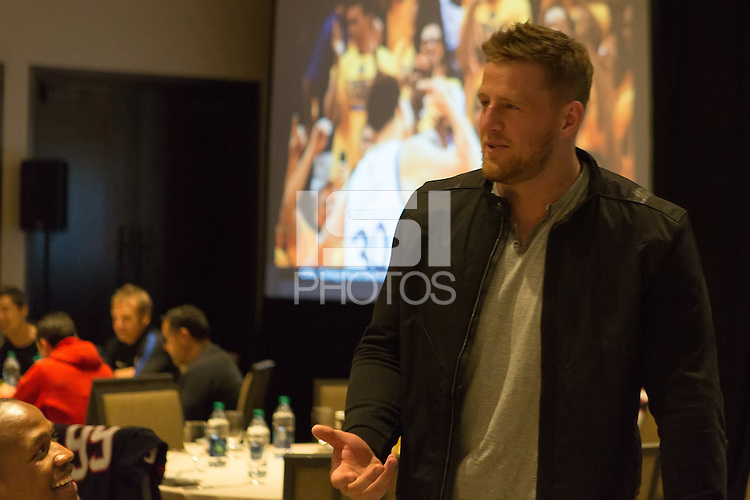 Houston, TX - June 18, 2016: J.J. Watt visits with the U.S. Men's National team at the JW Marriott in Houston.