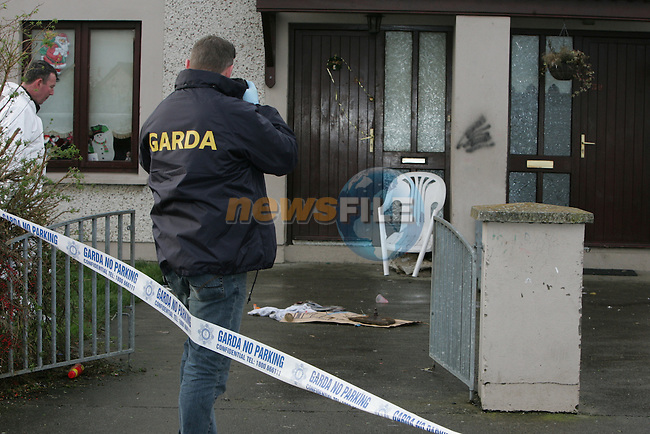 The scene of the stabbing in Rohan Heights estate in Drogheda. One male was removed from the scene to our lady of lourdes hospital in Drogheda in a critical condtion..Photo: Newsfile/Fran Caffrey.