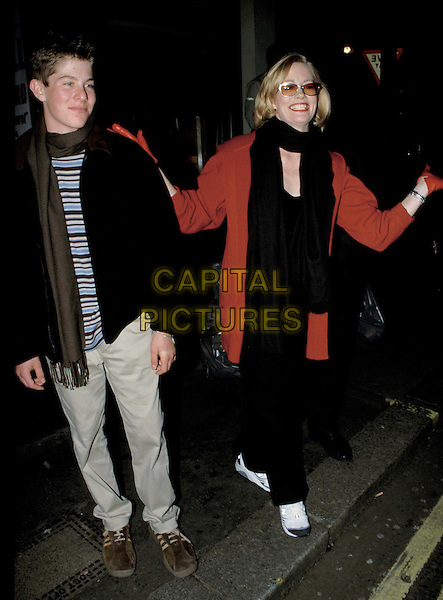 CYBIL SHEPHARD & SON..Cybil Shepherd & her son outside Pizza Express Jazz Cafe in Soho after performing her cabaret act...full length, full-length, paparazzi, sunglasses, shades..www.capitalpictures.com..sales@capitalpictures.com..©Capital Pictures