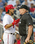 Washington Nationals third baseman Anthony Rendon (6) argues with home plate umpire Bob Davidson (61) after he was ejected for arguing about the low pitches that were called strikes in the 12th inning against the Chicago Cubs at Nationals Park in Washington, D.C. on Wednesday, June 15, 2016.  The Nationals won the game 5 - 4 in 12 innings.<br /> Credit: Ron Sachs / CNP