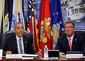 United States President Barack Obama chairs a meeting at the Pentagon of the National Security Council and receives an update from his national security team on the campaign to degrade and destroy the ISIL terrorist group.(left to right:  President Barack Obama, Secretary of Defense Ashton Carter. <br /> Credit: Dennis Brack / Pool via CNP