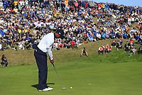 Tiger Woods (Team USA) putts on the 9th green during Saturday's Foursomes Matches at the 2018 Ryder Cup 2018, Le Golf National, Ile-de-France, France. 29/09/2018.<br /> Picture Eoin Clarke / Golffile.ie<br /> <br /> All photo usage must carry mandatory copyright credit (&copy; Golffile | Eoin Clarke)